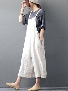 M-5XL Women Solid Color Strap Cotton Wide Leg Jumpsuit ae0ded3df173