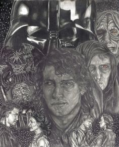 drawing I did of Anakin Skywalker in various stages