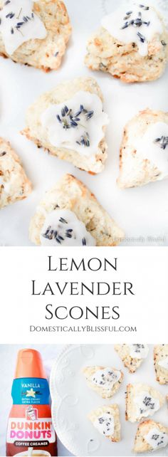 These Lemon Lavender Scones are a sweet little treat that is full of fresh summer & floral flavor for breakfast, brunch, or dessert. #ad #DunkinCreamers @walmart | brunch recipe | breakfast recipe | lemon recipe | lavender recipe | scone recipe | wedding shower | bridal shower | baby shower | Mother's Day | spring recipe | summer recipe | coffee creamer | recipe | easy recipe |