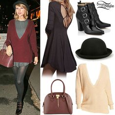 Taylor Swift: Oxblood Sweater, Grey Dress