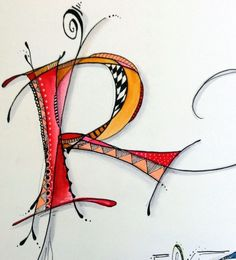 Raucous R by Sally Wightkin Mehr Doodle Lettering, Creative Lettering, Lettering Styles, Doodle Art, Doodle Drawings, Doodles Zentangles, Zentangle Patterns, Calligraphy Letters, Typography Letters