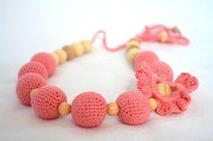 Coral / Crochet Necklace/ Ecofriendly jewellry/ от ColoredYarn, $28.00