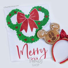 Disney Castle Christmas Wreath Mens Longsleeve Tee