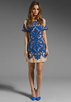 TRACY REESE RUNWAY Chestnut Formal Beading Dress in Persian Blue // love this color + pattern combo