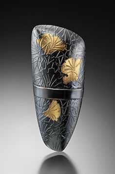 """""""Oxidized Banded Ginkgo Brooch"""" with keum boo."""
