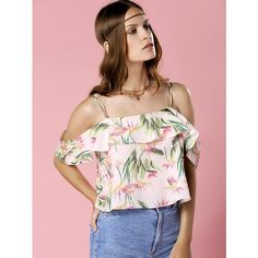Printed Flounce Top (690 HRK) via Polyvore featuring tops, pink top, ruffle top, flounce tops, frill top i flutter-sleeve top