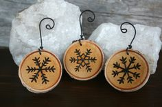 Snowflake Ornaments - Set of 3 - Woodburning on Birch - no pattern