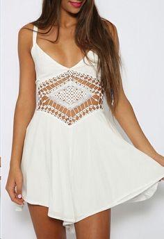 White Crochet Boho Summer Dress