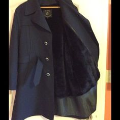 Dark Blue Warm Winter Coat Used. The lining of the coat is faux fur. Coming from a Non Smoking Household Jackets & Coats
