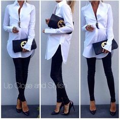Stick to the basics. Black leggings + white cotton tunic + heels