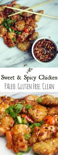 Sweet and spicy chicken! A clean, paleo take on Chinese food! Also, some information about arrowroot flour! Sweet and spicy chicken! A clean, paleo take on Chinese food! Also, some information about arrowroot flour! Paleo Recipes, Asian Recipes, Real Food Recipes, Cooking Recipes, Paleo Food, Paleo Meals, Flour Recipes, Free Recipes, Paleo Cookbook