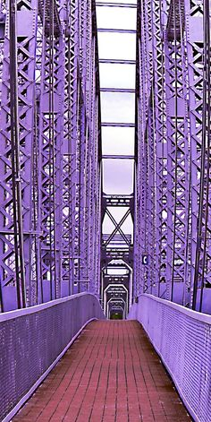 Purple People Bridge, Cincinnati Ohio - pedestrian bridge crossing the Ohio River from Cincinnati to Newport KY Purple Love, All Things Purple, Shades Of Purple, Purple Stuff, Deep Purple, Ouvrages D'art, Famous Bridges, Malva, Nature