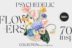 PSYCHEDELIC FLOWERS bright florals by Lana Elanor on @creativemarket Have A Nice Life, Pastel Palette, Poster S, Pastel Floral, Vintage Wedding Invitations, Gift Wrapping Paper, Floral Bouquets, Floral Wreaths, Photoshop Elements