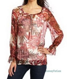 New LUCKY BRAND JEANS Womens Misses XS Stevie Flower Floral Sheer Red Top Blouse #LuckyBrand #Blouse #Casual