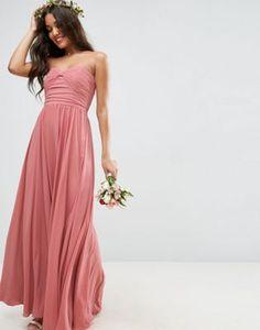 ASOS WEDDING Bow Front Bandeau Maxi Dress