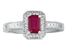 Octagon Cut 2.2 CT Ruby Diamond 14K White Gold Antique Ring (Online at Gemologica.com)