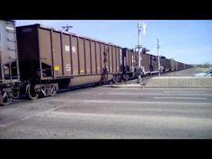 A fast BNSF coal train heading north