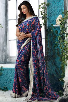 Blue Georgette Printed Saree With Blouse From Skysarees.