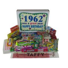 50th Birthday Gift Basket Box - Retro Nostalgic Candy: 1962, (50th birthday gifts, retro, gift idea, nostalgia, retro candy, 1960s, 50th birthday, 50th birthday gift, 60s)