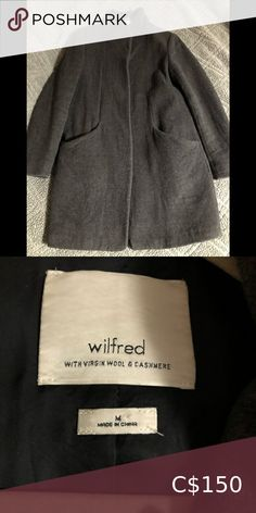 Aritzia Cocoon Coat Dark grey, EUC cocoon coat, no rips or stains. Smoke free home. Wilfred Jackets & Coats Duster Jacket, Shirt Jacket, Denim Shirt, Wool Vest, Black Vest, Embroidered Jeans, Japanese Fabric, Dark Grey