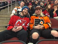 Lifelong hockey buddies enjoying the rivalry @njdevils vs. @philadelphiaflyers at the @prucenter. I feel like Im in an outtake from #Clerks sitting in front of these two. Hilariously brilliant! I had to take a portrait! #NewJerseyDevils #PhiladelphiaFlyers #NJDevils #PhillyFlyers #PrudentialCenter  #NYC #ILoveNY #INY #Manhattan #BigApple #RichardAgudelo #RicAgudelo #Photographer #Photographing #Photography #RespectCopyright # #RichardAgudelo