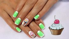 Bright summer nails, Cheerful nails, Delicious nails, Ice-cream nails, July nails, Light green french nails, mix match nails, Moon French manicure