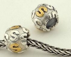 CLLE03SS 925 Sterling Silver Alphabet letter S Pandora Charms beads Pandora Letters