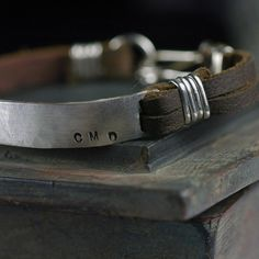 Mens Leather Cuff Bracelet CUSTOM Stamped message  by thebeadgirl, $164.00