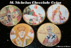 Shower of Roses: St. Nicholas Chocolate Coins - Love these printable St. Nicholas images for the Feast day - may have to consider Jesse Tree, O Antiphon or Christmas Coins for CCD Catholic Crafts, Catholic Kids, Catholic Homeschooling, St Nicholas Day, Chocolate Coins, Christmas Chocolate, Church Events, Educational Crafts, Infancy