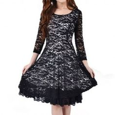 $15.28 Graceful Solid Color Vintage Lace Dresses For Women