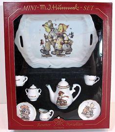 M.J.Hummel Doll Tea Set,Porcelain,Children's Pictures,Tray,Sugar,Creamer,Teacups,Saucers,Made in Germany