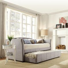 Blake Gray Linen Day Bed with Trundle Bed - Sears
