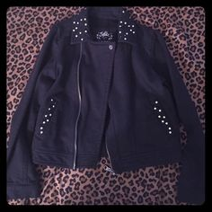 Hardly worn girls Justice jacket Black & studded jacket from Justice, size 8. Was hardly ever worn! Justice Jackets & Coats