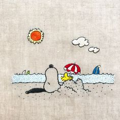 Passion on sandy beach. Hand Embroidery Patterns, Cross Stitch Embroidery, Embroidery Designs, Snoopy Pictures, Snoopy Quotes, Charlie Brown And Snoopy, Snoopy And Woodstock, Peanuts Snoopy, Needlework