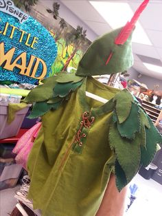 Peter Pan Jr costume we made out of various shades of green fabric