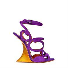 Edmundo Castillo Purple Swirl and Gold Wedge Sandals