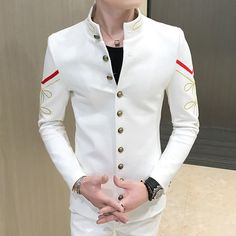 mens_fashion - Men's Blazer Gold Button Chinese Collar Slim Fit Pattern Army Pilot Great Mens Fashion, Indian Men Fashion, Mens Fashion Suits, Style Masculin, Blazer Pattern, Designer Suits For Men, Casual Blazer, Men Blazer, Blazer Outfits