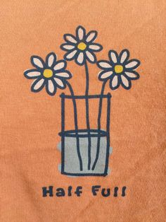 "Life Is Good Womens T Shirt Small Cotton Melon Orange ""Half Full"" Short Sleeve S 