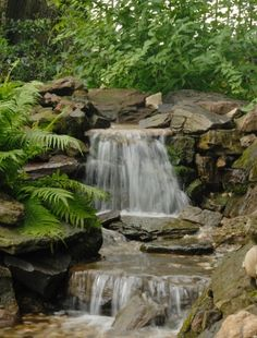 Waterfall by Autumn View Landscape & Design Co. Outdoor Water Features, Water Features In The Garden, Backyard Water Feature, Ponds Backyard, Pond Landscaping, Waterfall Landscaping, Garden Site, Garden Waterfall, Natural Pond