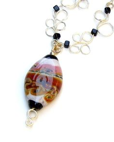 Necklace Lampwork Bead Silver Handmade Canyons by Flauntourstuff, $49.00