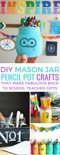 These Adorable DIY Painted Mason Jars Make Great Teacher Gifts Loving these DIY mason jar pencil pot crafts – perfect teacher gifts! Jar Crafts, Diy Crafts For Kids, Crafts To Sell, Sell Diy, Kids Diy, Decor Crafts, Mason Jar Gifts, Mason Jar Diy, Gift Jars