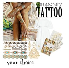 """""""temporary tattoos #2"""" by mebaraka ❤ liked on Polyvore featuring beauty, Flash Tattoos, Paper London and temporarytattoo"""