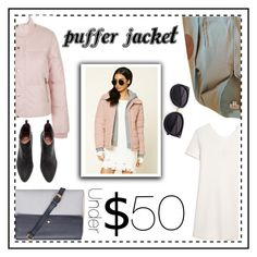 """""""Puffer Jacket under $50"""" by elisabetta-negro ❤ liked on Polyvore featuring New Look, MANGO, Dorothy Perkins, LOFT, dress, sweaterweather and puffers"""