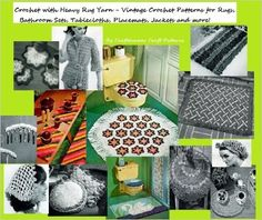 Crochet with Heavy Rug Yarn Patterns - Vintage Patterns to Crochet for Rugs, Bathroom Sets, Place Mats, and More! - Amazon Link