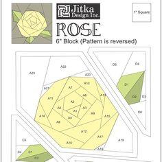 "*FREE download pattern on my blog*Made a pattern of simplified rose in 6"" size #paperpiecing #quilting #ilovetodesign #pattern #rose #jitkadesignrose #jitkapattern"