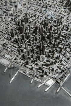 Artist Hong Seon Jang created a miniature city using pieces of movable old metal type from a printing press.