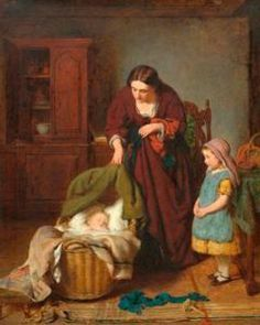 George Smith (1829 – 1901, English) Peace At Last, Beauty In Art, Cottage Art, Second Child, Images, English, Children, Illustration, Painting