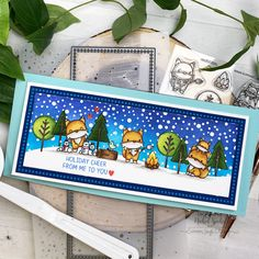 """Slimline featuring masked images from the Simon Says Stamp STAMPtember Mama Elephant """"Winter Foxes"""" Stamp Set. Mama Elephant, Diy Cards, Handmade Cards, Cards For Friends, Simon Says Stamp, Lawn Fawn, Scrapbook Cards, Scrapbooking, Winter Theme"""