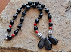BLACK RED AGATE  agate necklace  statement necklace  black