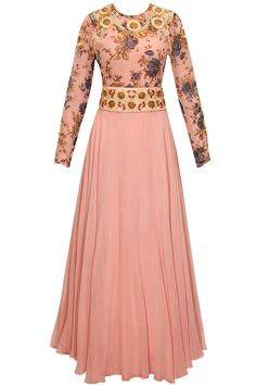 Pink dori embroidered floral print anarkali set available only at Pernia's Pop-Up Shop.